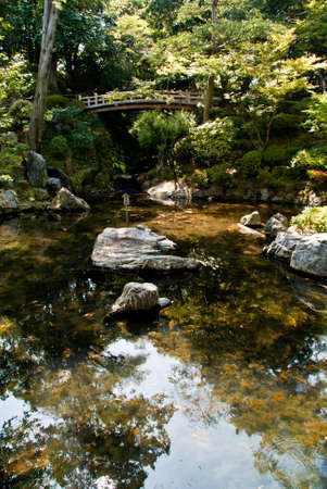 Japanese ornamental pond with wooden bridge Stock Photo