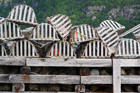 Collection of lobster pots on a jetty