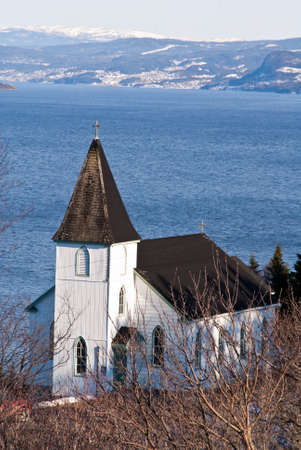 A white wooden church in Newfoundland