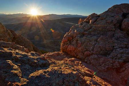 horsetooth rock: Horsetooth Mountain at Sunset Stock Photo