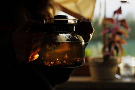 woman female with teapot breakfast summer