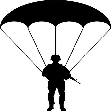 Vector silhouette of Soldier on white background