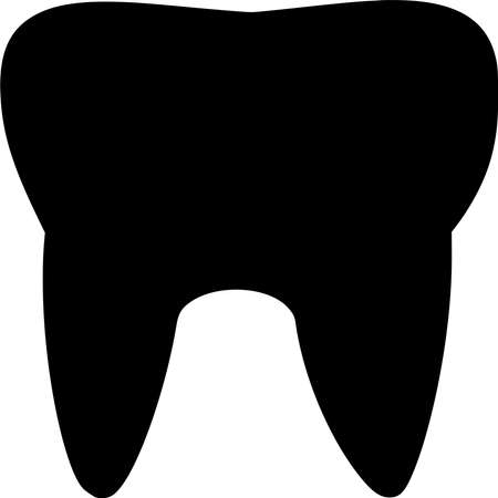Vector silhouette of Tooth on white background