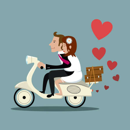 married: Married couple on a moped