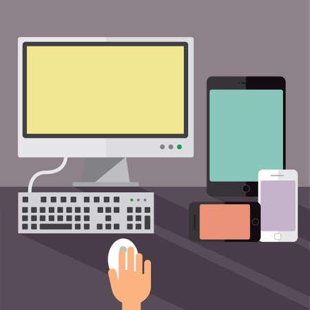 Desktop computer, smartphones and a tablet Vector