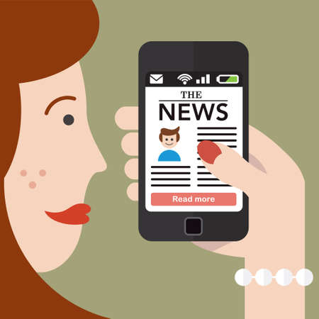 Woman checking the news on a Smartphone Vector