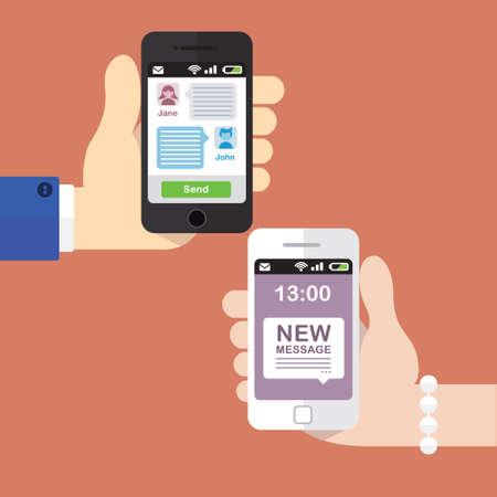 telefono caricatura: Dos personas texting entre sí