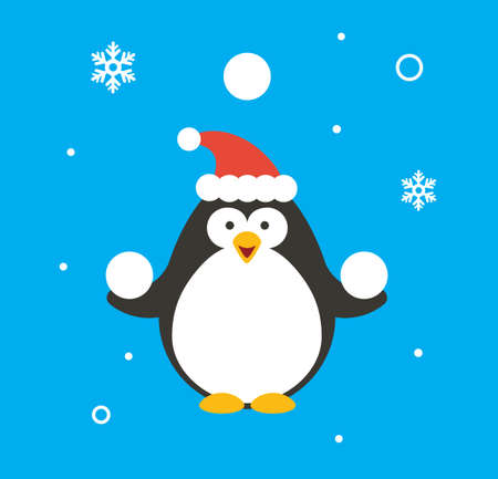 Christmas Penguin isolated on plain background
