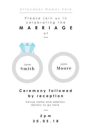 Rings theme - Wedding invitation vector illustration.