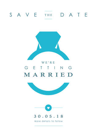Blue Ring theme - Save the date invitation