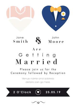 Heart theme - Wedding invitation vector illustration. Çizim