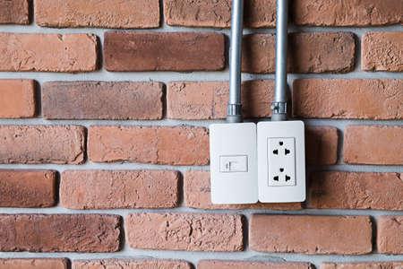 wall plug: Electric wall plug outlet Stock Photo