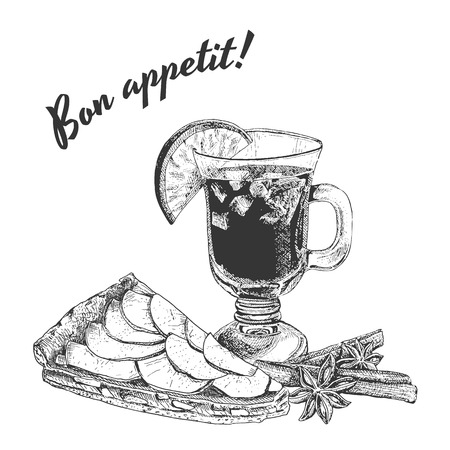 apple pie: Bon appetit card with apple pie, mug of mulled wine and cinnamon sticks. Engraving outline vintage style,