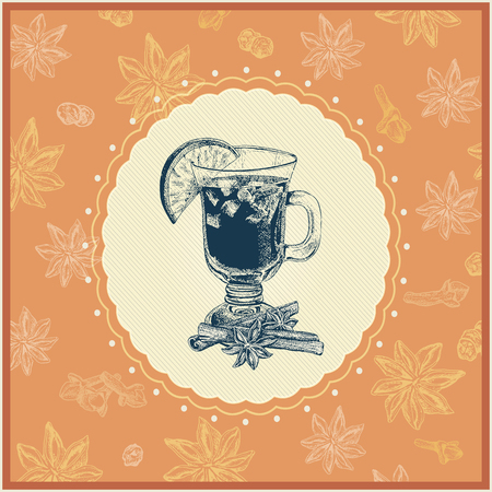 wine  shabby: Bright colorful mulled wine illustration with seasoning ingredient background. Shabby retro style, It can be used for greeting cards, post cards, invitations etc