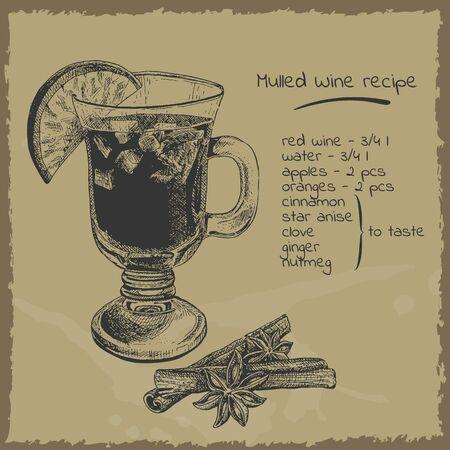 Mulled wine recipe illustration. Engraving retro style. Çizim