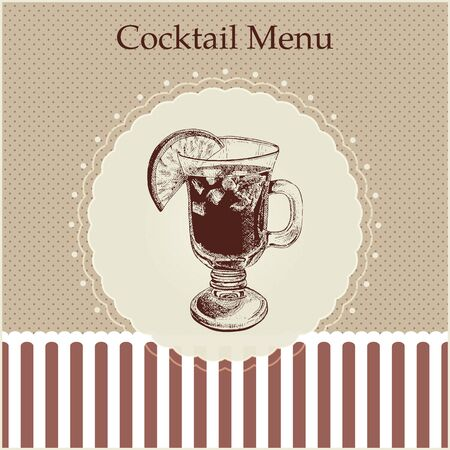 wine  shabby: Cocktail menu cover template. Gentle retro style. Mug with mulled wine illustration.