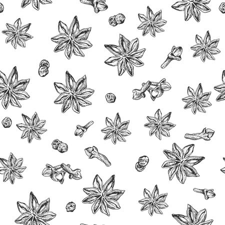 condiment: Seamless seasoning pattern with star anise and other condiment. It can be used for textile, fabric, napkins, tablecloth, wrapping paper etc Illustration