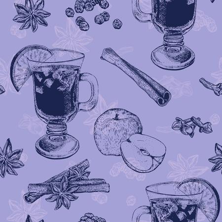 Naadloos patroon in paarse kleur met mok warme wijn, appel en kaneel. Het kan worden gebruikt voor textiel, stof, servetten, tafellakens, inpakpapier etc
