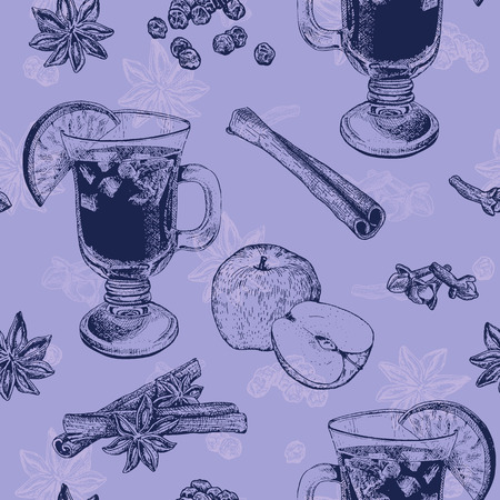 Seamless pattern in purple color with mug of mulled wine, apple and cinnamon. It can be used for textile, fabric, napkins, tablecloth, wrapping paper etc