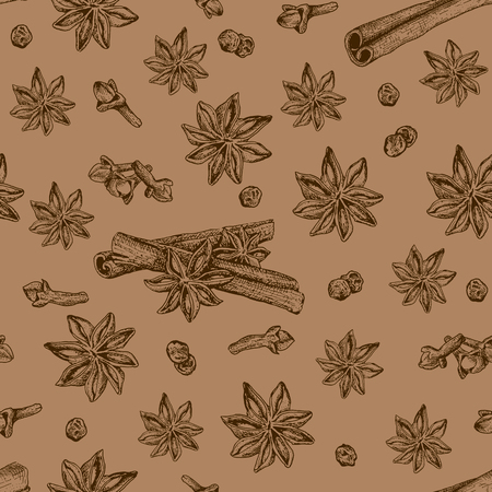 star anise: Seamless seasoning pattern with star anise and other condiment. It can be used for textile, fabric, napkins, tablecloth, wrapping paper etc Illustration