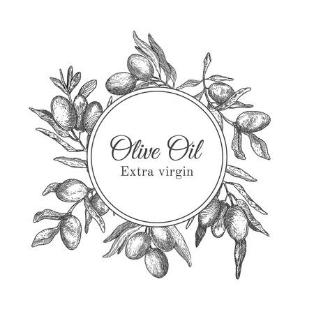 black branch: Hand drawn ink frame with olive branch for cards, labels, olive oil design, package