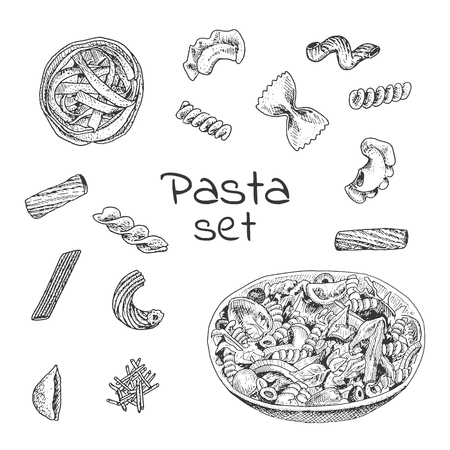 variations set: Ink hand drawn pasta variations set. Engraving style. It can be used for menu design, package. food background etc.