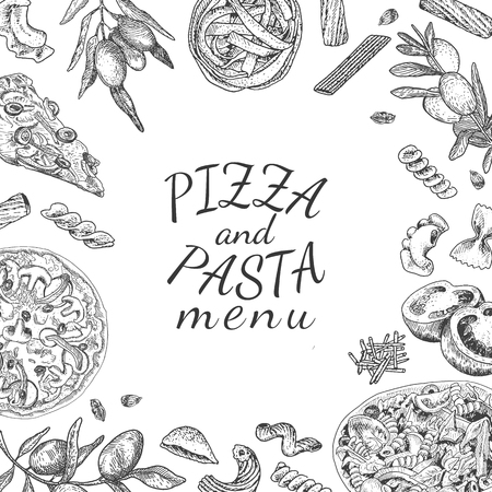 Ink hand drawn pizza and pasta menu template. Engraving old-fashioned vintage style. Ilustração