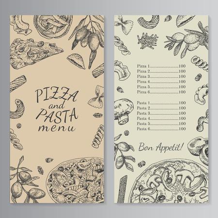 tinta mano dibujado pizza y las pastas plantilla de menú. estilo de época antigua grabado. Kraft imitación papel,