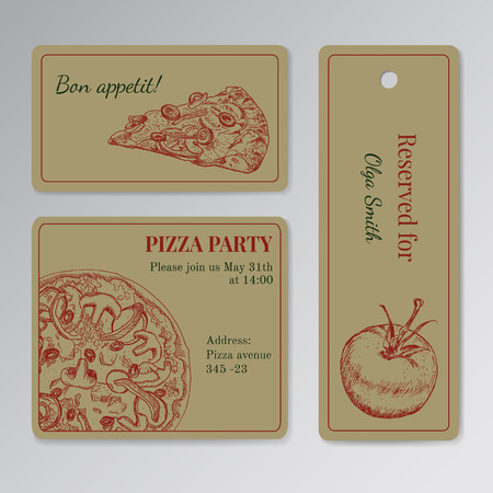 reservation: Set of cards templates for pizza party.  Invitation, seat reservation etc.  Engraving old-fashioned vintage style. Illustration