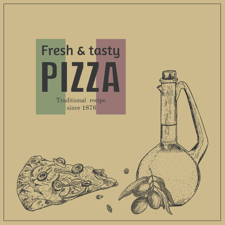 oldfashioned: Ink hand drawn pizza package box template. Engraving old-fashioned vintage style.