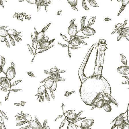Naadloos olijfolie patroon. Het kan gebruikt worden voor behang, textiel, verpakking, inpakpapier, achtergrond etc Stock Illustratie