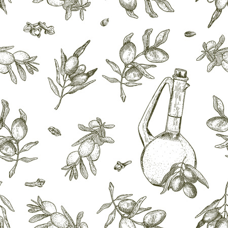 Seamless olive oil pattern. It can be used for wallpaper, textile, package, wrapping paper, background etc