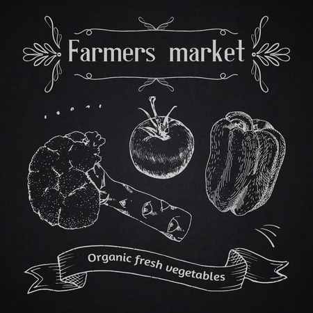 advertisment: Farmers market advertisment template. Vintage chalk style on the blackboard. Outline engraving. Lettering.