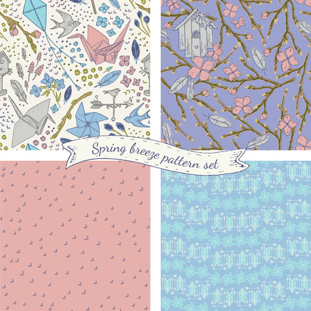 breeze: Spring breeze seamless pattern set. lovely romantic vintage style. Origami crane, bird feathers, pinwheel illustration elements. It can be used for fabric, wrapping paper, napkins, wallpaper, scrapbooking etc