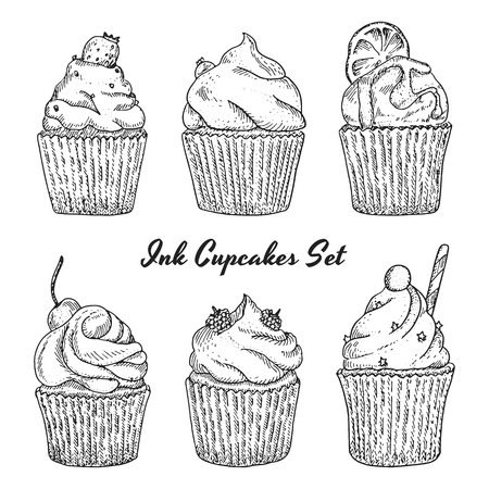 Ink hand drawn cupcakes set with different type of cupcakes strawberry, blueberry citrus, raspberry, cherry. Isolated. Easy to use for different design of menu, advertisement, cafe etc