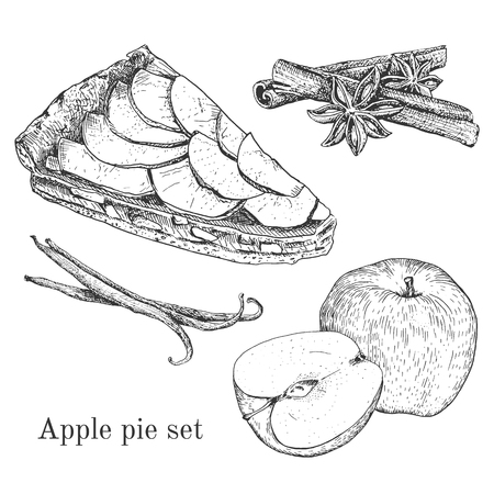 Ink apple pie set cinnamon, vanilla. Outline engraving traditional stile. It can be used like design elements for menu, food backgrounds etc Çizim