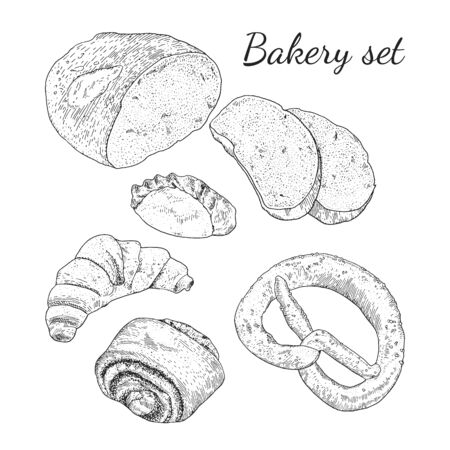Ink hand drawn bakery set with different type of bread. Isolated. Easy to use for different design of menu, advertisement, cafe etc. Vintage outline engraving style,