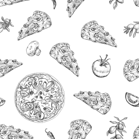 Seamless pizza pattern with olive branches, tomato, pizza slice, peppers, mushrooms. It can be used for wallpaper, textile, package, wrapping paper, background etc