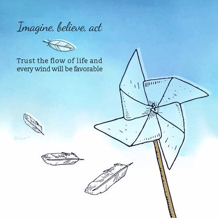 Kaart sjabloon met pinwheel, veren en aquarel achtergrond, Romantische stijl. inspirational tekst Stock Illustratie