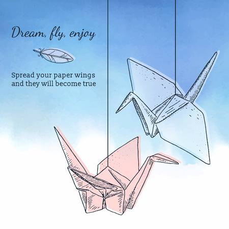 Card template with origami cranes and watercolor background, Romantic style. Inspirational text