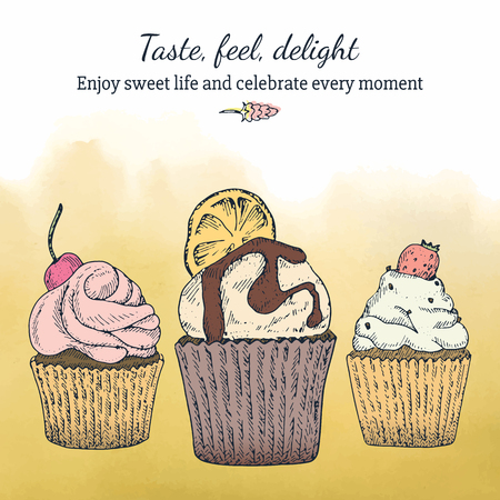 Card template with cupcakes and watercolor background, Romantic style. Inspirational text