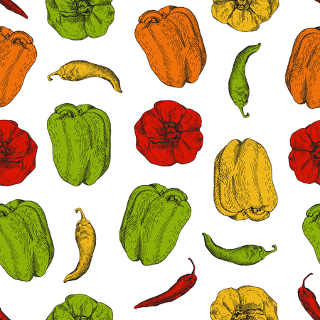 bulgarian: Colorful bright seamless pattern with bulgarian and chilli peppers. It can be used for stylish wrapping paper, package, napkins etc.