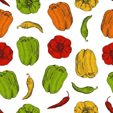 Kleurrijke heldere naadloze patroon met Bulgaarse en chilipepers. Het kan worden gebruikt voor modieus pakpapier, verpakking, servetten etc. Stock Illustratie