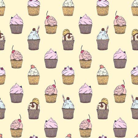 Naadloos patroon met verschillend type van capcakes voor textiel, verpakkend document, achtergrond, servetten, stof, designes enz