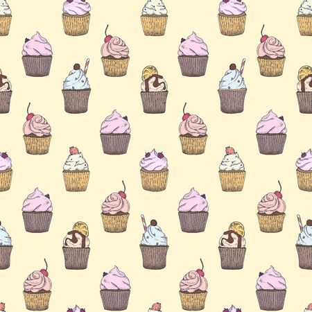 Seamless pattern with different type of capcakes for textile, wrapping paper, background, napkins, fabric, designes etc