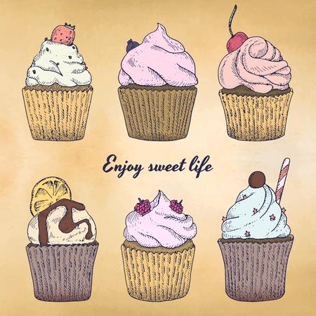 Kleur cupcakes set met verschillende soorten cakejes aardbei, bosbes, chocolade. citrus, framboos. Eenvoudig te gebruiken voor verschillende ontwerpen van menu's, advertenties, cafés enz