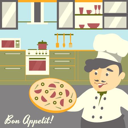 Pizza chef-kok illustratie met keuken interieur achtergrond.