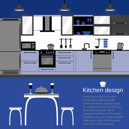sideboard: Kitchen interior design with home furniture and kitchenware. Illustration