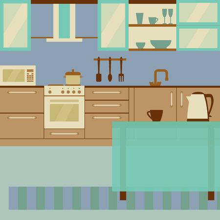 Keuken interieur met meubelen en keukengerei.
