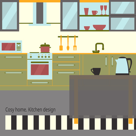 Kitchen interior design with home furniture and kitchenware. Çizim